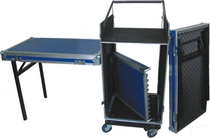 Colorful 18U Standard Rack Flight Case With 2 Pcs Of Stand And Top Table