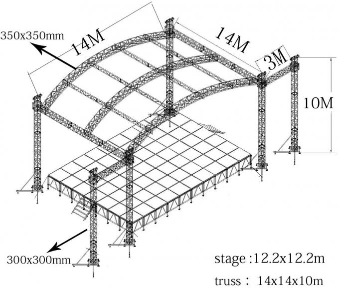 Professional 6082- T6 Aluminum Square Truss With Curved Tent Series