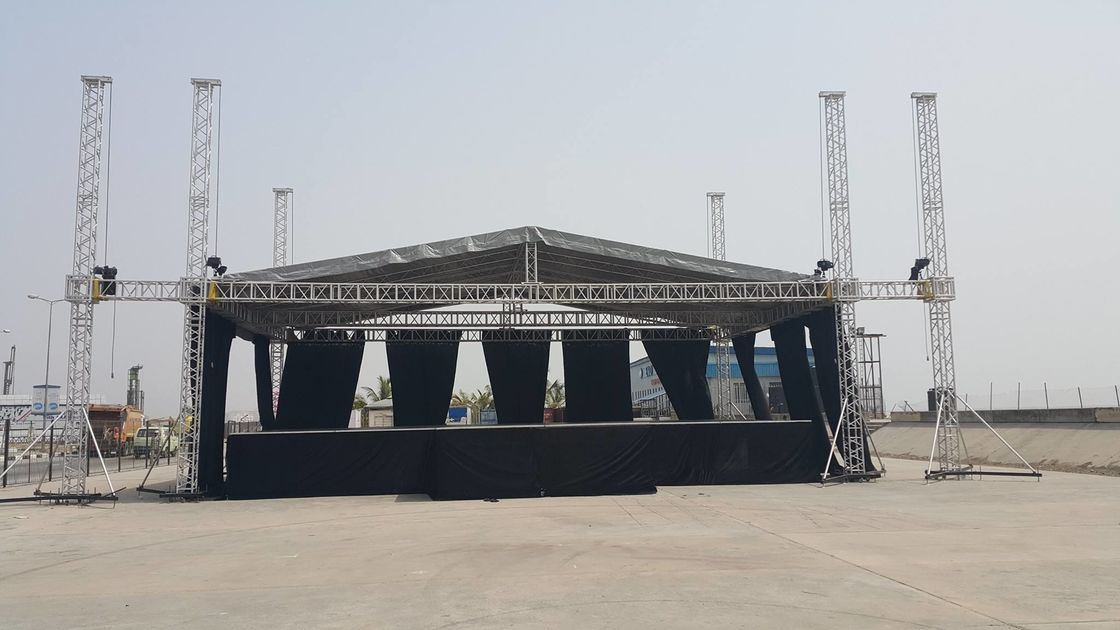 6 Pillars True Project Stage Lighting Truss 12x12x10 Adjustable Height Roofing with High Loading