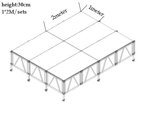 Clear Acrylic Stage Waterproof Platform , Protable Moving Stage Platform