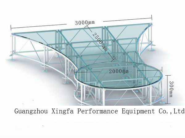 High Loading And Light Weight  1.22 x 1.2 2M Portable Anti-Slip Waterproof  Stage Platforms With Different  Height