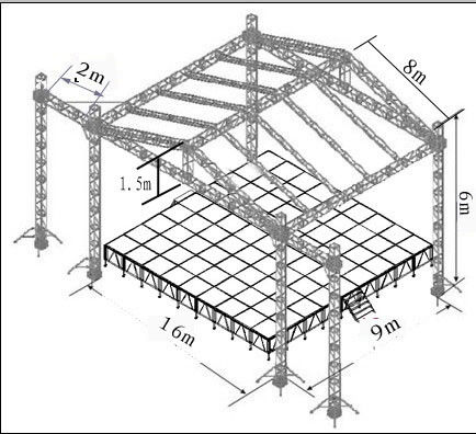 Custom stage lighting truss stage roofing truss systems for Truss roof system